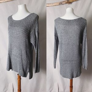 AEO High Low Grey Ramie Cotton Blend Sweater Large